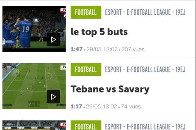 Nombre de visionnages des vidéos de matchs du jeu vidéo «FIFA» sur le site de L'Equipe.