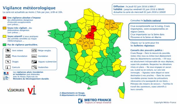Carte de vigilance de Météo France, émise le 2 juin matin.