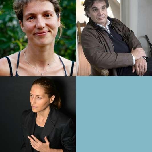En haut à gauche Sabine Girard, à droite Alexandre Jardin, en bas Cynthia Fleury.