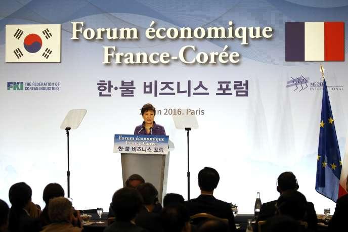 La présidente sud-coréeene Park Geun-hye à Paris le 2 juin 2016.