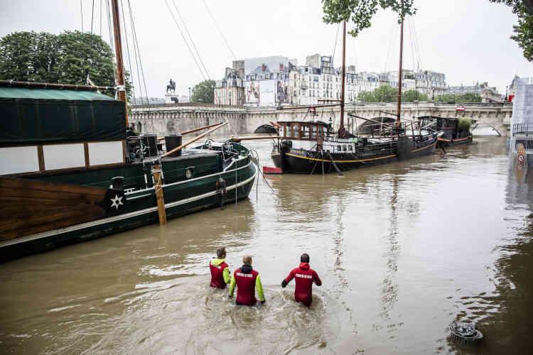 Près du Pont-Neuf.Paris n'est pour l'instant pas menacée par une catastrophe comparable à celle de 1910 – la Seine avait alors atteint 8,42 m et inondé notamment des stations de métro, paralysant la ville.