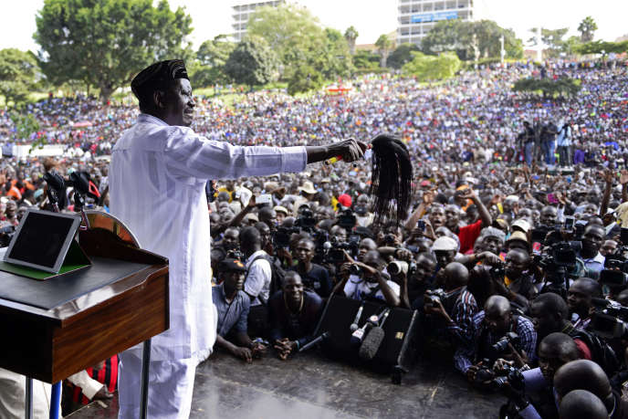 A Uhuru Park,à Nairobi,Raila Odinga, chef du parti d'oppositionOrange Democratic Movement, le 1er juin 2016,jour du Madaraka Day qui commémore la proclamation de l'autogouvernance qui a précédé de six mois l'indépendance du Kenya en 1963.