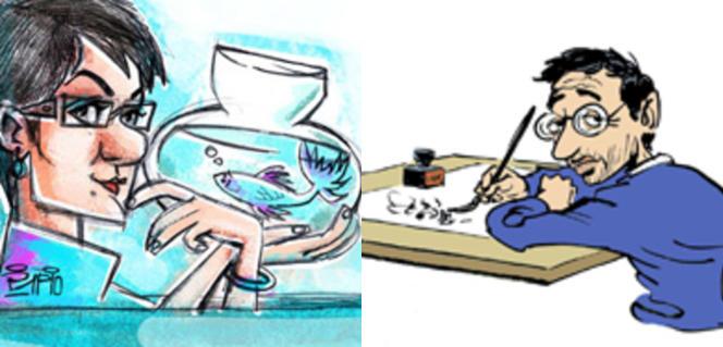 A gauche,l'artiste iranienneFiroozeh Mozaffari,a travaillé dans divers journaux tels que Shargh, Eternad, Farhikhtegan et sur le site Khabaroline. A droite, né en Belgique en 1954, Michel Kichka est l'un des représentants les plus connus de la caricature israélienne.