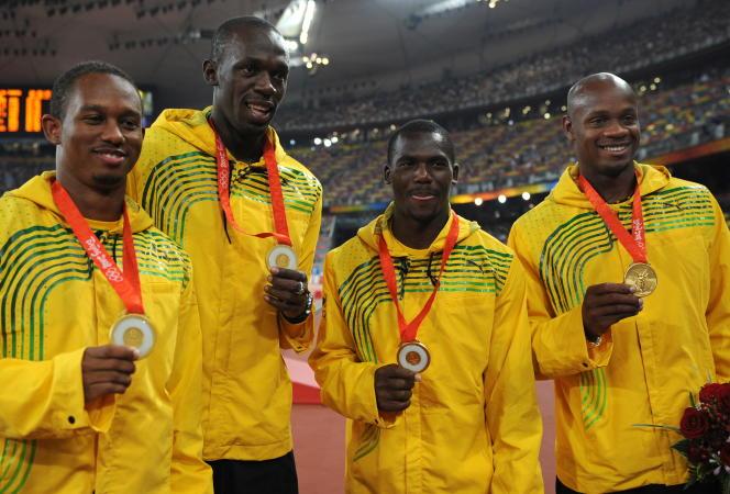 De gauche à droite, Michael Frater, Usain Bolt, Nesta Carter et Asafa Powell lors des JO de Pékin en 2008.