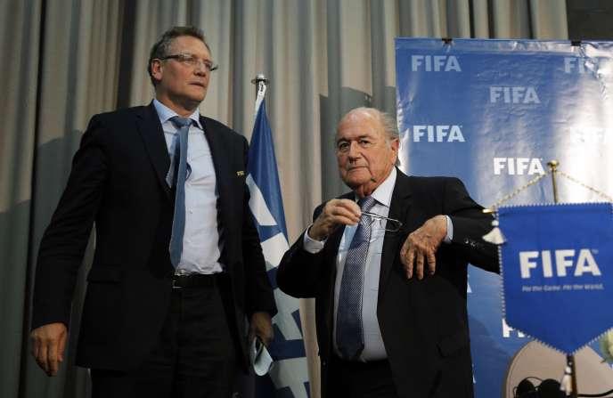 Jérôme Valcke et Sepp Blatter, en décembre 2014 à Marrakech.