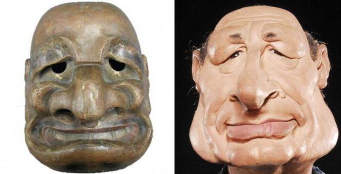 A gauche, le masque de théâtre japonais conservé au Musée Georges-Labit de Toulouse, à droite, la marionnette de Jacques Chirac aux «Guignols de l'info», sur Canal+.