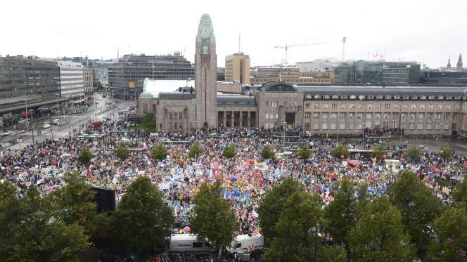 En septembre 2015, manifestation contre les mesures austérité du gouverment finlandais dans les rues d'Helsinki