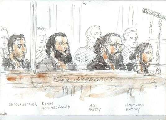 Croquis d'audience réalisé le 30 mai lors du procès à Paris de sept Strasbourgeois, dont le frère d'un kamikaze du Bataclan.
