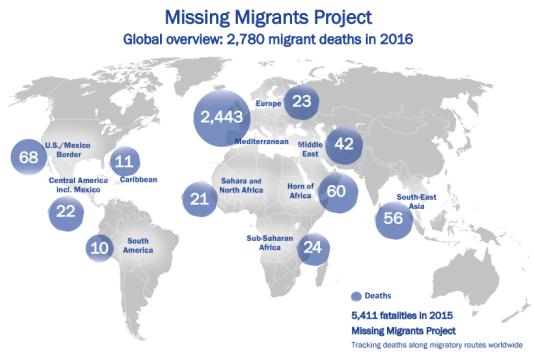 Nombre de migrants morts par région du monde de janvier à mai 2016, selon l'OIM.