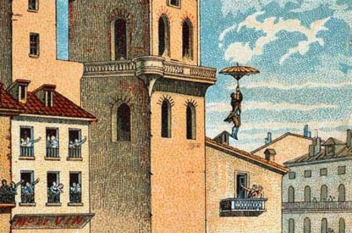 Le 26décembre 1783, Louis-Sébastien Lenormand saute du haut de la tour de l'observatoire de Montpellier avec le premier parachute.