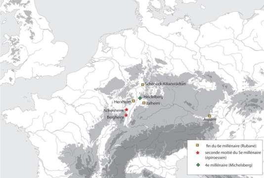 Carte montrant plusieurs sites du néolithique où des scènes de massacres ont été mises au jour.