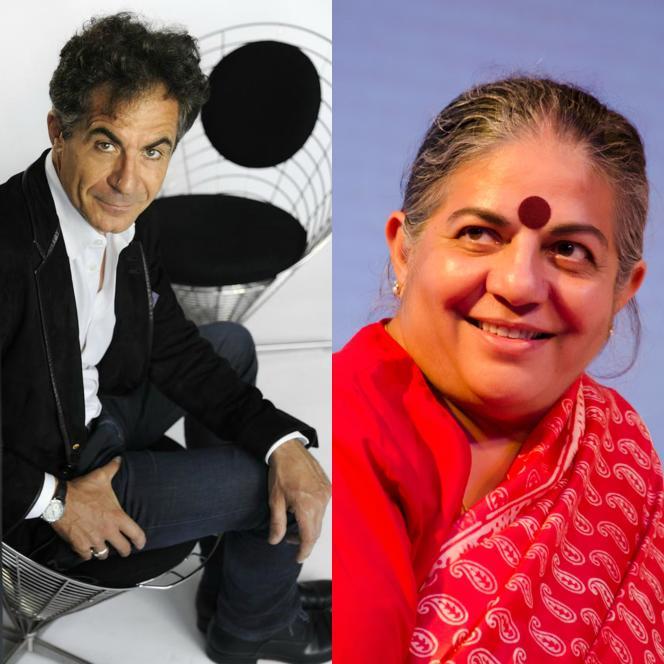 A gauche Etienne Klein, à droite Dr. Vandana Shiva