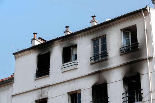 L'immeuble incendié à Saint Denis, le 7 juin 2016.
