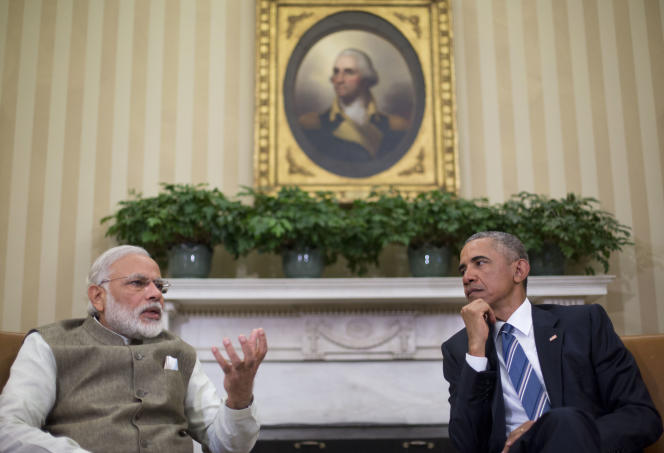 Le président américain, Barack Obama, et le premier ministre indien, Narendra Modi, dans le Bureau Ovale à Washington, mardi 7 juin 2016.