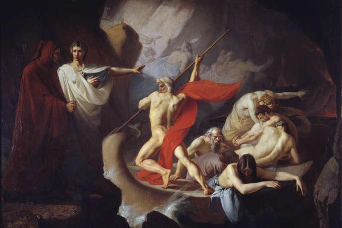 Dante et Virgilesur les rives du Styx,par KonstantinPetrovichPomerantsev (1860).