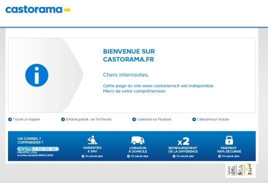 Message d'erreur sur le site de Castorama.