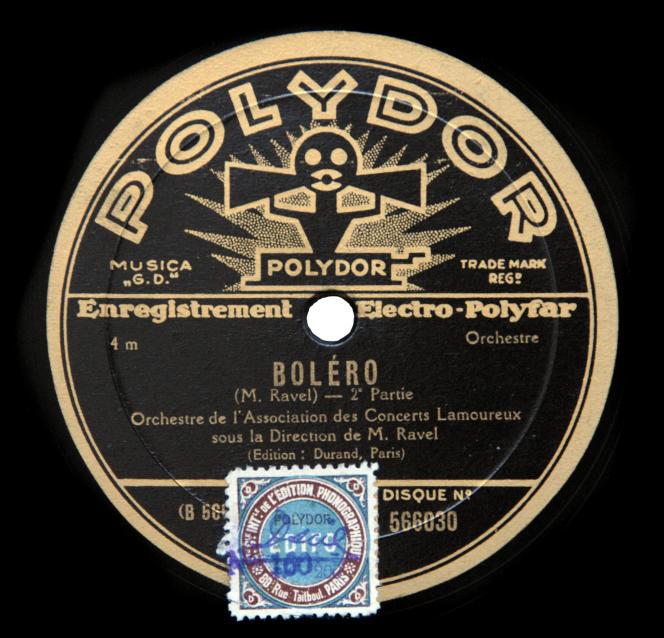 78-tours du « Boléro », de Maurice Ravel, enregistré en septembre 1931.