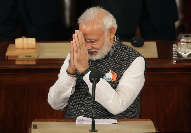 Le premier ministre indien, Narendra Modi, devant le Congrès américain, mercredi 8 juin 2016, à Washington.