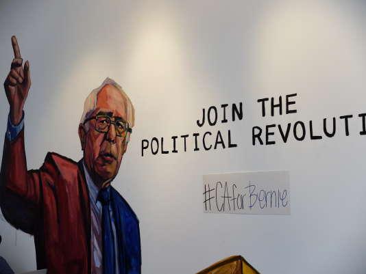 Dans le QG de campagne de Bernie Sanders à Hollywood, à Los Angeles.