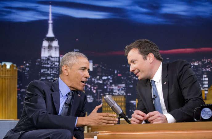 Barack Obama lors de son passage dans« The Tonight Show» de Jimmy Fallon, qui sera diffusé le jeudi 9 juin aux Etats-Unis.