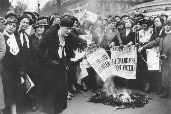 Suffragettes françaises en 1935.