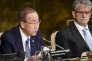 Le secrétaire général de l'ONU, Ban Ki-moon (à gauche), le 8 juin 2016 à l'ONU.