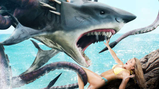 Sharktopus, requin métissé de poulpe, s'attaque à une de ces jolies filles en bikini dont il est, semble-t-il, très friand.