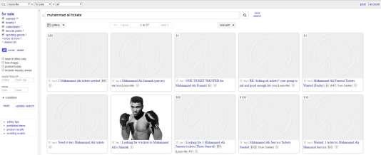 Capture d'écran de la page du site de petites annonces Craigslist consacrée aux tickets pour les obsèques du boxeur Mohamed Ali, vendredi 10 juin à Louisville (Kentucky).
