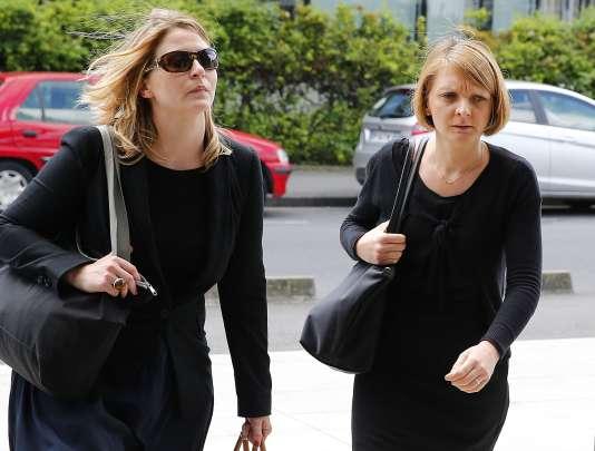 Rachel Lambert (à droite) et son avocate, Sara Nourdin, arrivent à la cour d'appel de Reims, jeudi9juin2016.