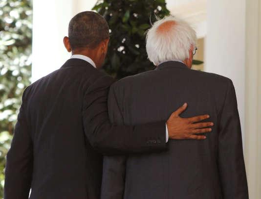 Le président des Etats-Unis, Barack Obama, et le candidat à l'investiture démocrate Bernie Sanders à la Maison Blanche, à Washington, jeudi 9 juin 2016.