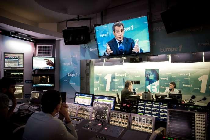 Nicolas Sarkozy, président des Républicains, dans les locaux d'Europe 1, jeudi 9 juin 2016.