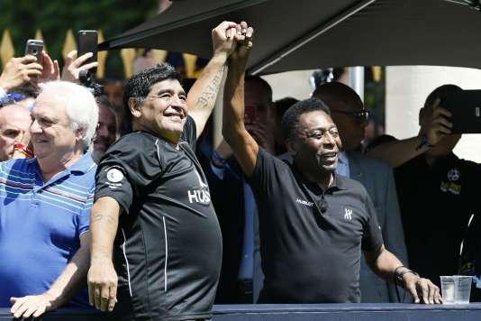 Diego Maradona et Pelé, le 9 juin à Paris.