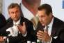 Norbert Hofer and Heinz-Christian Strache, les responsables du FPO, à Vienne, le 24 mai 2016.