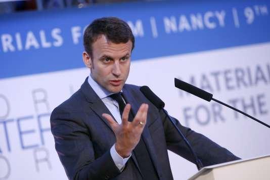 Emmanuel Macron,lors de son intervention au Forum mondial des matériaux, le 10 juin 2016.
