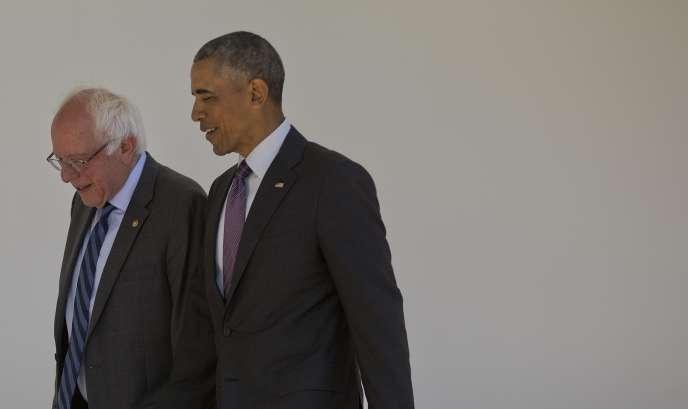 Le president Barack Obama avec Bernie Sanders à la Maison Blanche le 9 juin 2016.