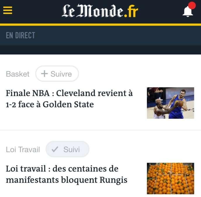 Capture de l'application Le Monde sur iOS.