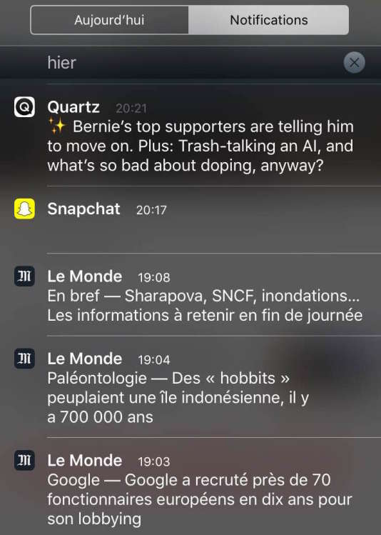 Des notifications issues du « suivi d'actu » de l'application Le Monde sur iOS.