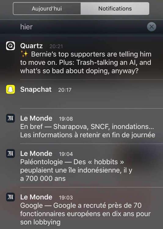 Des notifications issues du «suivi d'actu» de l'application Le Monde sur iOS.