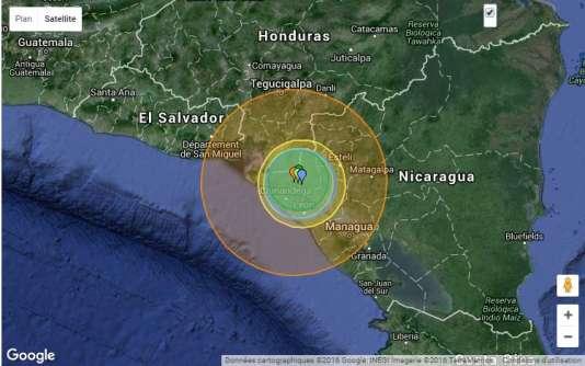 L'épicentre du tremblement de terre, survenu à 21 h 25 (5 h 25, heure de Paris) à une profondeur de 5 km, a été localisé à environ 7 km de la ville de El Viejo.