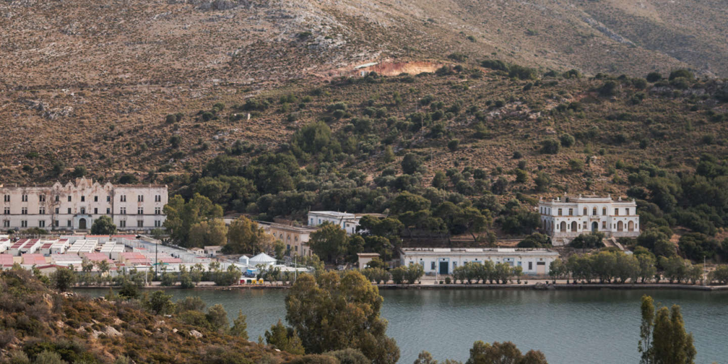 View of Lepida a former WWII Italian Aeronautical base and later a Psychiatric Hospital, itís yard is used since the 26th of February 2016 to house the ìHot Spotî of Leros, a Greek government run camp for refugees.