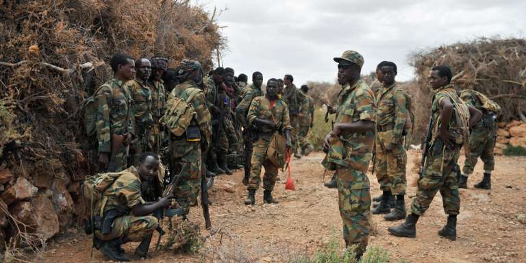 Des soldats éthiopiens de l'Amisom dans le village deHalgan, le 10 juin 2016.