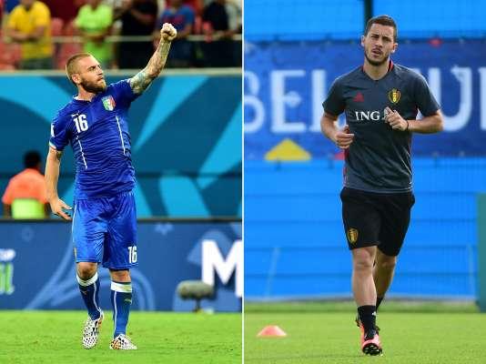 Les Italiens de Daniele de Rossi (à gauche) affrontent les Belges d'Eden Hazard, lundi à Lyon.