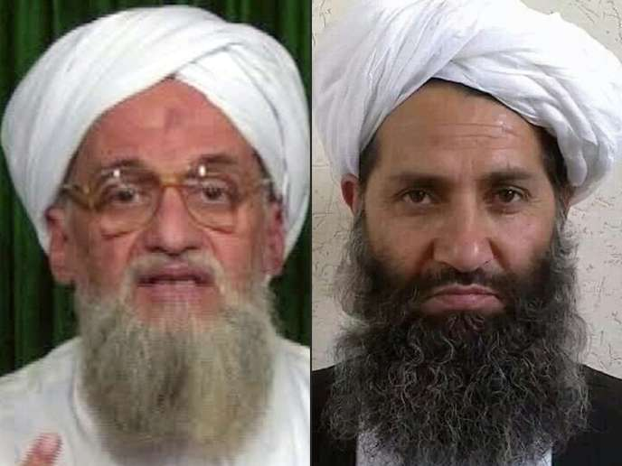 Ayman Al-Zawahiri, le chef d'Al-Qaida, et le mollahHaibatullah Akhundzada, nouveau leader des talibans afghans.