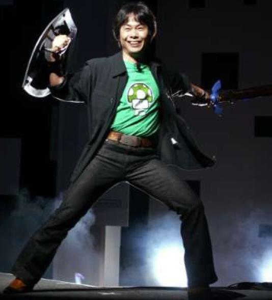 Shigeru Miyamoto annonçant «The Legend of Zelda : Twilight Princess» en 2004.