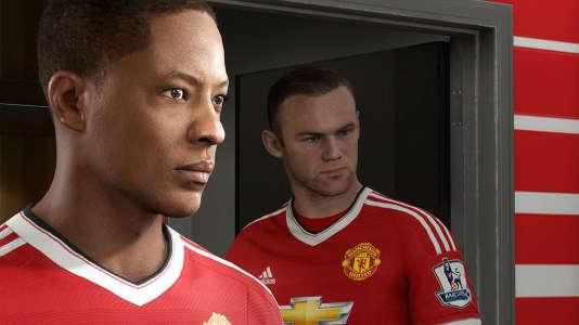 Alex Hunter, le personnage principal du mode histoire de «FIFA 17», devant Wayne Rooney, la star bien réelle de Manchester United.