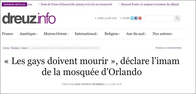Capture d'écran du site d'extrême droite Dreuz.info.