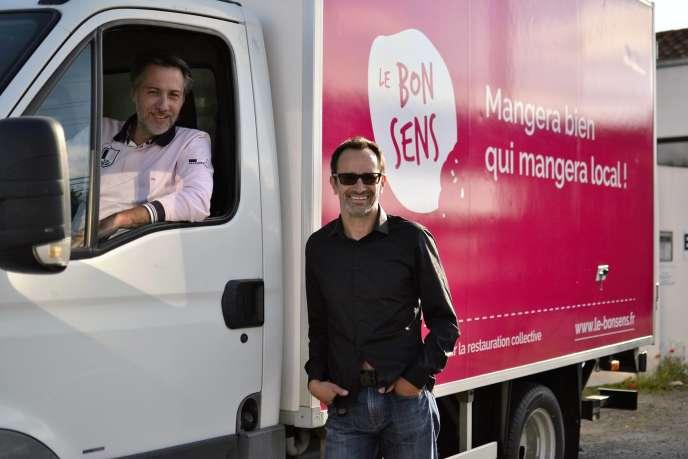 Laurent Granier et Fabien Ferdinandy les fondateurs du«Bonsens», une plateforme digitale destinée à mettre en contact ds fournisseurs et des cantines publiques ou privées, à LaRochelle.