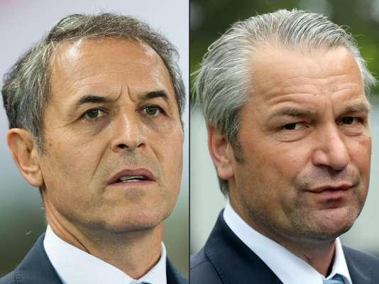 L'entraîneur autrichienMarcel Koller (à gauche) et le coach hongrois Bernd Storck.