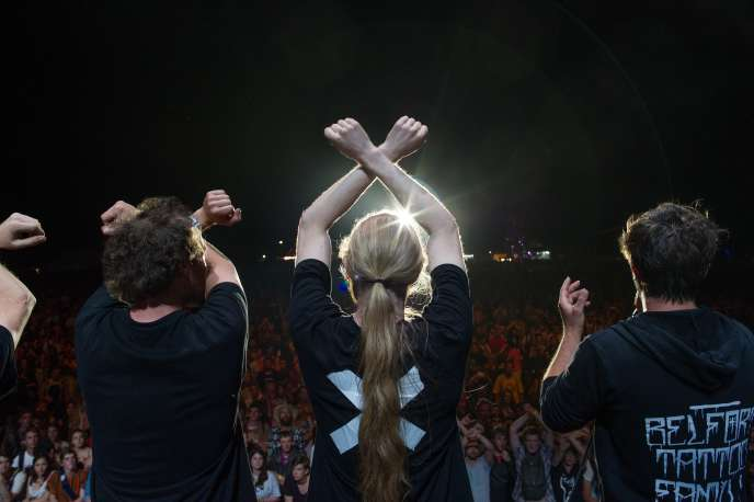 Une intervention d'intermittents du spectacle aux Eurockéennes de Belfort, en juillet 2014.