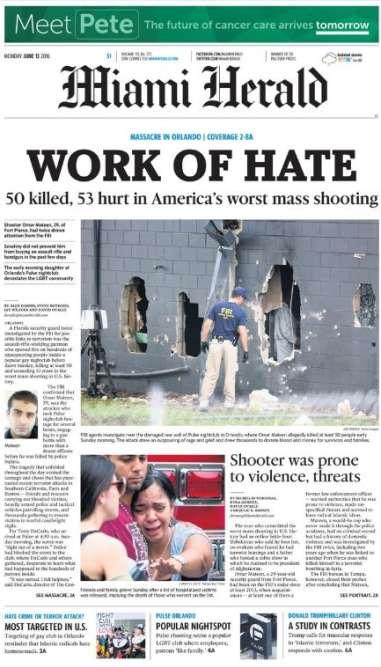 « Une œuvre de haine» titre le« Miami Herald».
